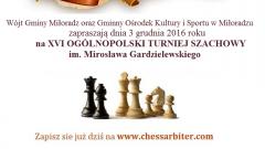 Już w grudniu zapraszamy na XVI Ogólnopolski Turniej Szachowy Pamięci Mirosława Gardzielewskiego w Miłoradzu - 03.12.2016