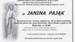 Zmarła Janina Pająk. Żyła 85 lat.