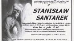 Zmarł Stanisław Santarek. Żył 77 lat.