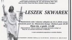 Zmarł Leszek Skwarek. Żył 63 lata.