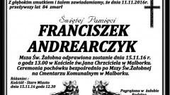 Zmarł Franciszek Andrearczyk. Żył 84 lata.