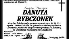 Zmarła Danuta Rybczonek. Żyła 59 lat.