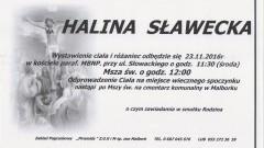 Zmarła Halina Sławecka. Żyła 79 lat.