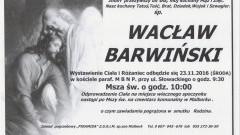 Zmarł Wacław Barwiński. Żył 66 lat.