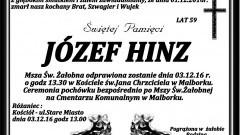 Zmarł Józef Hinz. Żył 59 lat.