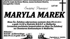 Zmarła Maryla Marek. Żyła 60 lat.