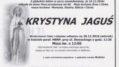 Zmarła Krystyna Jaguś. Żyła 66 lat.