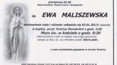 Zmarła Ewa Maliszewska. Żyła 60 lat.