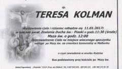 Zmarła Teresa Kolman. Żyła 59 lat.