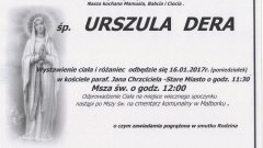 Zmarła Urszula Dera. Żyła 86 lat.