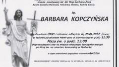 Zmarła Barbara Kopczyńska. Żyła 69 lat.