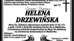 Zmarła Helena Drzewińska. Żyła 77 lat