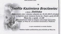 Zmarła Teofila Kazimiera Bracławiec. Żyła 86 lat.
