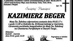 Zmarł Kazimierz Beger. Żył 76 lat.