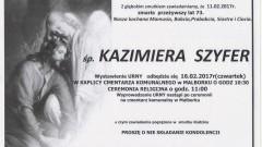 Zmarła Kazimiera Szyfer. Żyła 73 lata.