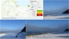Sztutowo. Plaża zimą ze smogiem w tle - 15.02.2017