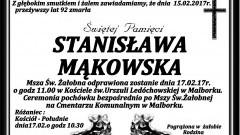 Zmarła Stanisława Mąkowska. Żyła 92 lata.