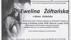 Zmarła Ewelina Żółtańska z domu Golańska. Żyła 37 lat.