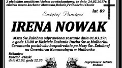 Zmarła Irena Nowak. Żyła 89 lat.