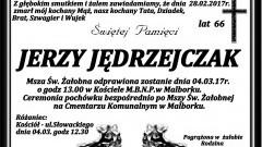 Zmarł Jerzy Jędrzejczak. Żył 66 lat.
