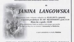 Zmarła Janina Langowska . Żyła 91 lat.