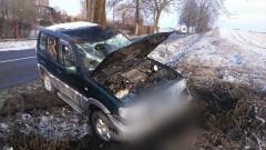 Dąbrówka Malborska: Dachowanie terenowego nissana. Dlaczego auto zjechało z drogi? - 07.03.2017