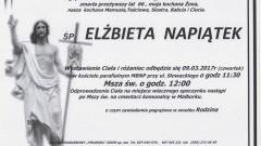 Zmarła Elżbieta Napiątek. Żyła 66 lat.