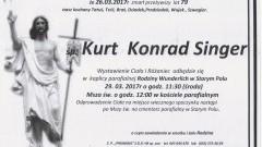 Zmarł Kurt Konrad Singer. Żył 79 lat.