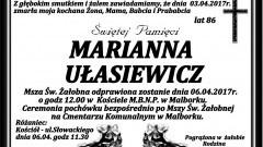 Zmarła Marianna Ułasiewicz. Żyła 86 lat.