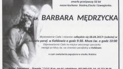 Zmarła Barbara Mędrzycka. Żyła 56 lat.