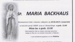 Zmarła Maria Backhaus. Żyła 70 lat.