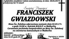 Zmarł Franciszek Gwiazdowski. Żył 72 lata.