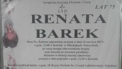 Zmarła Renata Barek. Żyła 75 lat.