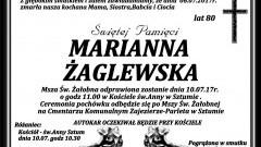 Zmarła Marianna Żaglewska. Żyła 80 lat