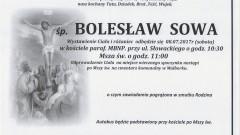Zmarł Bolesław Sowa. Żył 75 lat.