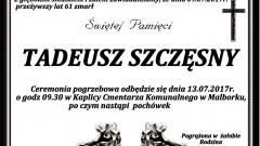 Zmarł Tadeusz Szczęsny. Żył 61 lat