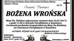 Zmarła Bożena Wrońska. Żyła 51 lat.