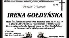 Zmarła Irena Gołdyńska. Żyła 90 lat.