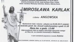 Zmarła Mirosława Karlak. Żyła 64 lata.