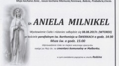 Zmarła Aniela Milnikiel. Żyła 82 lat.