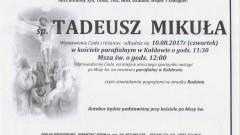 Zmarł Tadeusz Mikuła. Żył 72 lata.