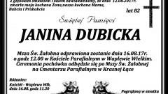 Zmarła Janina Dubicka. Żyła 82 lat.