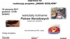 Dzierzgoń : Zapraszamy na warsztaty kulinarne potraw narodowych - 18.08.2017