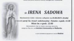 Zmarła Irena Sadowa. Żyła 73 lat.