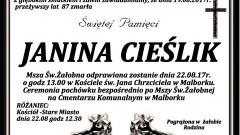 Zmarła Janina Cieślik. Żyła 87 lat