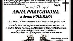 Zmarła Anna Przychodna. Żyła 62 lat.