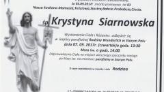 Zmarła Krystyna Siarnowska. Żyła 83 lata.