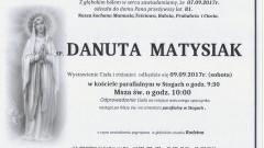 Zmarła Danuta Matysiak. Żyła 81 lat.