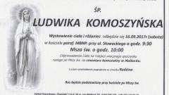 Zmarła Ludwika Komoszyńska. Żyła 88 lat.