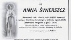 Zmarła Anna Świerszcz. Żyła 56 lat.